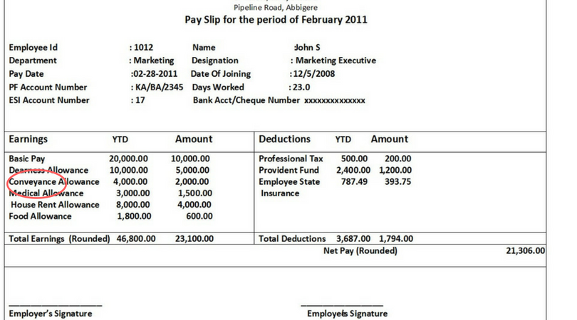 Conveyance Allowance - Indian Salary Slip