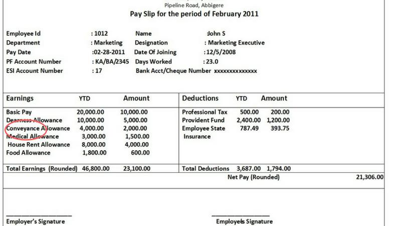 Conveyance Allowance - Indian Salary Slip