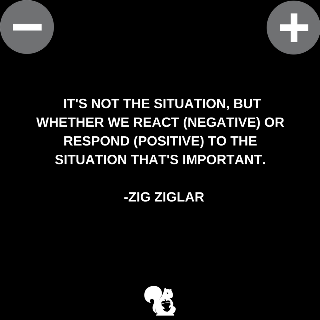 sqrrl.in It's not the situation, but whether we react (negative) or respond (positive) to the situation that's important. - Zig Ziglar