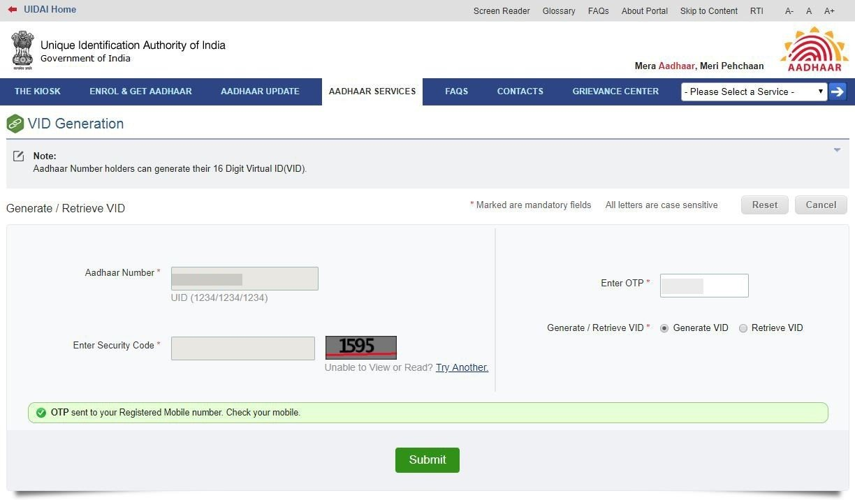 Step 2 to create virtual aadhaar id