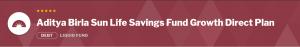 Debt Mutual Funds:Aditya Birla Sun Life Savings Fund